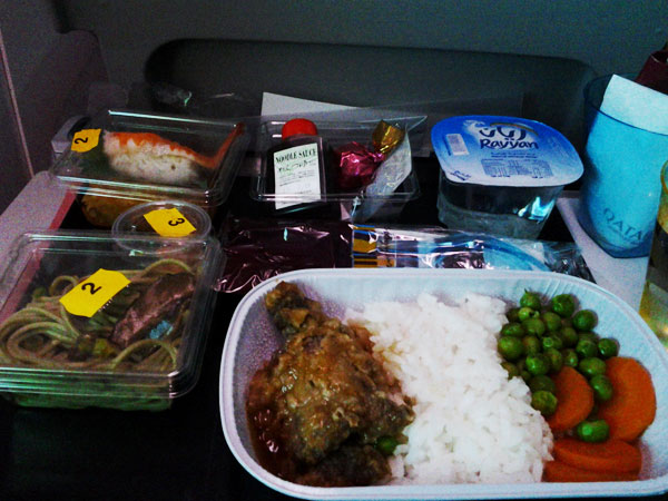 Bento lunch on the flight from Doha to Narita.