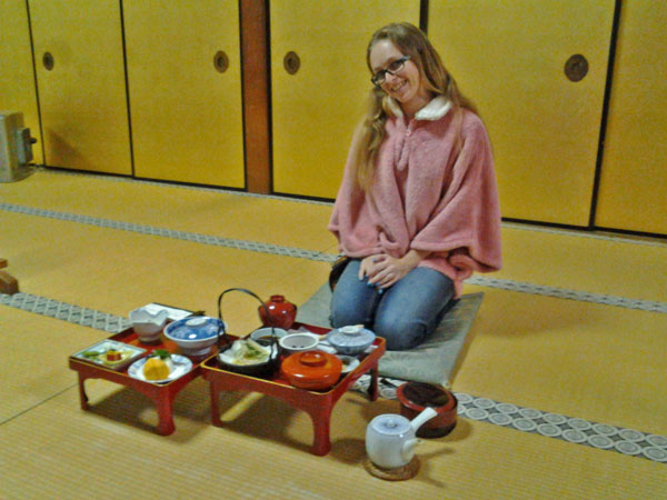 Me, having a traditional Japanese dinner at a temple in Koya-san.