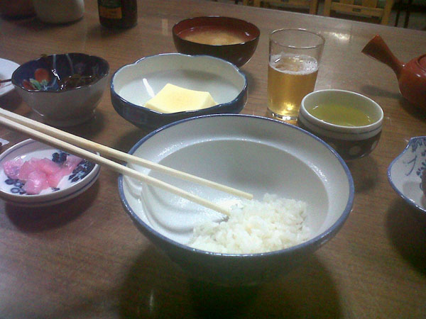 Traditional Japanese meal in a ryokan.