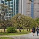 A couple walking in Hama-rikyu Teien, Tokyo